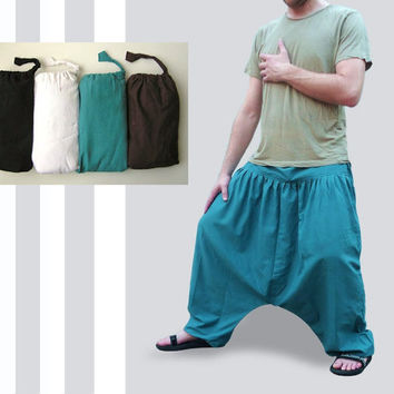 Plain Harem Pants - Yoga Pants - Cotton  - Afghani Pants - Alibaba Pants - Men - Woman - Plain Color