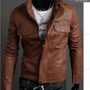 Men brown Biker leather jacket with belted collar and quality pure leather, mens real leather jacket,men biker leather jacket