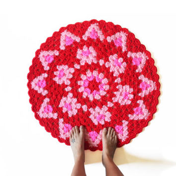 Round Crochet Mandala Rug - One of a Kind Red and Pink Rug Mat with Scallop Edge