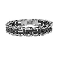 Stainless Steel Two Tone Sideways Cross Railroad Bracelet - Men (Black)