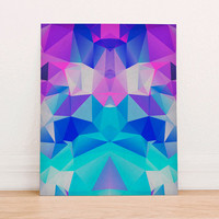 Abstract Geometric Polygon Digital Art Print Instant Download, Motivational Art Print, Colorful Poster, Geometric Art Fall Blue Purple