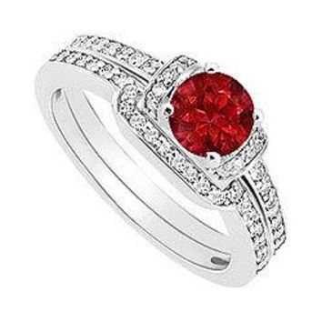 Ruby and Diamond Engagement Ring with Wedding Band Set : 14K White Gold - 0.60 CT TGW