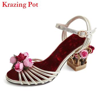 2017 Superstar Bird Cage Brand Flowers Summer Shoes Ankle Straps Peep Toe Women Sandals High Heels Velvet Luxury Casual Shoes 96