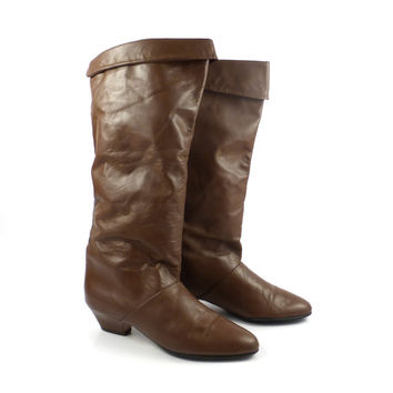 Brown Leather Boots Vintage 1980s Joyce Slouch Heeled Boots Women's size 6 1/2 N
