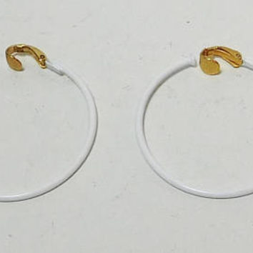 """Large White Hoop Clip On Earrings, Signed Lewis Segal, Enameled, 1 1/2"""" Wide, Vintage Jewelry, Never Worn, Hippie Jewelry"""