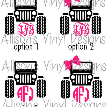 Jeep Monogram Vinyl Decal, Jeep Girl Monogram Vinyl Decal, Jeep Wrangler Monogram Decal, Jeep Car Decal