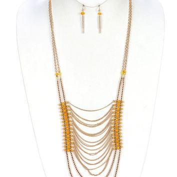 Graciniea Gold Multi Layer Yellow Beading Necklace and Earring Set