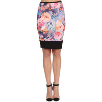 Purple Floral Print Pencil Skirt