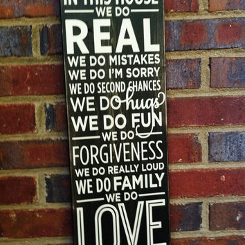 In this House Vintage Style Subway Sign  22 by 7 1/4   Home Decor Family Rules Wedding Engagement Graduates