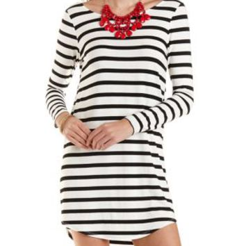 Striped Scoop Neck Jersey Dress by Charlotte Russe - White/Black