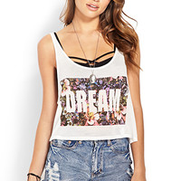FOREVER 21 Dream In Color Flared Tank Cream/Pink