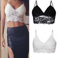 HOT Lace Floral Bralette Bustier Crop Top Cami Unpadded Tank = 5660779905
