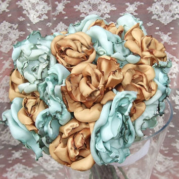 Wedding Bouquet Tea stained baby blue flowers by OurPlaceToNest