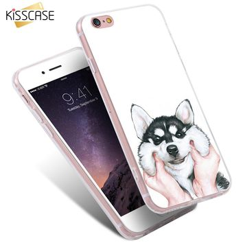 KISSCASE Cute Cartoon Case For iPhone 7 Plus 6 6S Plus 5S SE Dog Cover For Samsung Galaxy S6 S7 Edge S8 Plus Note 4 5 A5 A7 A3