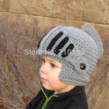 DCCKL3Z Mr.Kooky Novelty Children Roman Knight Armor Caps Cool Cute Winter Handmade Knitted Hats Helmet Baby Boy Girl Crocheted Beanies