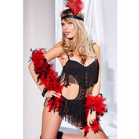 Hot Deal Cute On Sale Sexy Lace Black Tassels Spaghetti Strap Exotic Lingerie [6596714371]