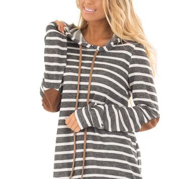 Charcoal Striped Hoodie with Faux Suede Elbow Patches