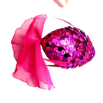 purple fish pendant for home interior. 100% handmade. Sparkles purple and violet flakes. The tail of chiffon.