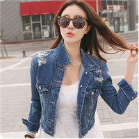 2016 Spring Womens Girls New Princess Denim Jacket Distressed Crop Outerwear Coat Worn White Washed Short Jean Jacket