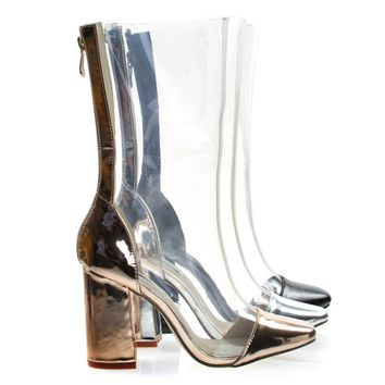 Betisa22 Rose Gold By Cape Robbin, Lucite Clear Transparent Over Ankle Bootie w Chunky Block Heel, PVC