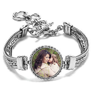 Photo Bracelet Snap Charm Interchangeable Bracelet. Personalized Gift. Mother of the bride bracelet. Handmade Jewelry Anniversary. Jewellery