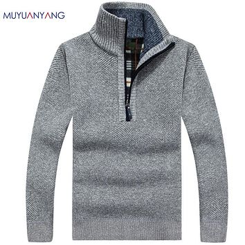 Warm Thick Velvet Cashmere Sweaters Men Pullovers Zipper Collar Man Casual Clothes Pattern Knitwear