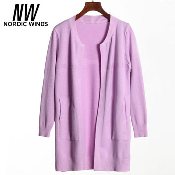 Nordic winds 2016 warm winter women christmas sweater o-nekc long sleeve solid casual open stitch long knitted cardigans