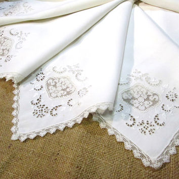 Antique Napkins Dinner Napkins Irish Linen Italian Filet Lace Set of 12 Vintage Linens Large White Napkins