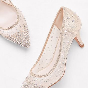 Crystal-Studded Mesh Pointed-Toe Pumps | David's Bridal