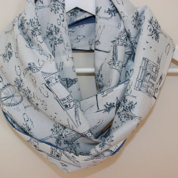 Wanderlust Scarf, Traveller Scarf, Women's Scarves, White Blue Grey Loop Scarf, Infinity Scarf, Big Ben Loop Scarves, The London Eye, London