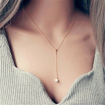 womens rose gold pearl pendant necklace gift box 2