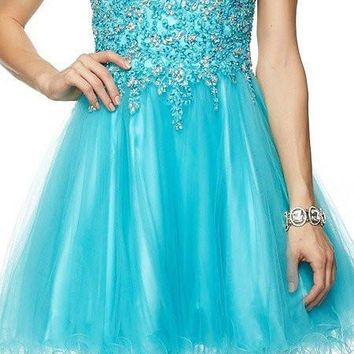 Juliet 787 Turquoise Strapless Applique Jeweled Bodice Short Prom Dress
