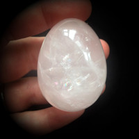 Rose Quartz Yoni Egg / 75g 34mm Wide /Medium Stone / Meditation / Sacred Feminine Symbolizes Happiness Motherhood / Rebirth / LOVE / Calming
