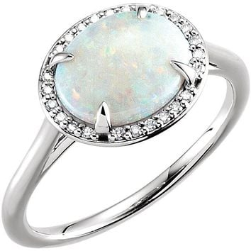 14K Gold Horizontal Oval Australian Opal & .06 CTW Diamond Halo Ring - White, Rose or Yellow