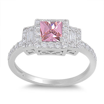 925 Sterling Silver CZ Halo Princess Cut Pink Ring 8MM