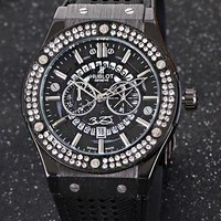HUBLOT Trending Woman Men Stylish Personality Diamond Cool Movement Wristwatch Watch Black