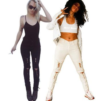 MDIGHY3 New american apparel Women stretch cotton white designer sexy skinny lace-up ripped jeans pants High waist small bottom z084