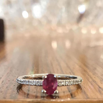Delicate Ruby Engagement Ring, 14K White Gold Ring, 0.63 CT Ruby Ring, Ruby Ring Gold, Diamonds Engagement Ring, Solitaire Ring, Oval Ruby