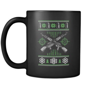 Guns & Ammo 2nd Amendment Ugly Christmas Sweater Black 11oz Coffee Mug