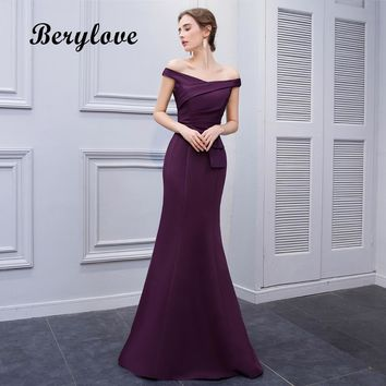 BeryLove Simple Mermaid Purple Satin Evening Dresses 2018 Long Off Shoulder Evening Gowns Formal Evening Dress Prom Dress