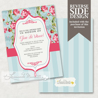 Shabby Chic Invitation - Birthday Party Invitation - PRINTABLE INVITATION DESIGN