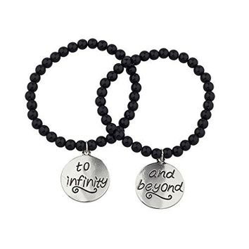 Lux Accessories Black Beaded To Infinity amp Beyond BFF Best Friends Matching Bracelet Set