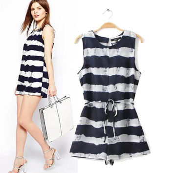 Stylish Round-neck Sleeveless Stripes Waistband Polyester Romper [6315469377]