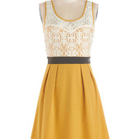 ModCloth Mid-length Tank top (2 thick straps) A-line Fanciful Forsythia Dress