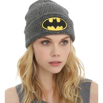 Retail 2017 New Adult Men Batman Embroidery Knitting Beanie Hip Hop Caps Women Stripe Nightcap Casual Hats Free Shipping