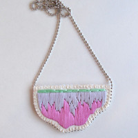 Abstract bib necklace hand embroidered in ombre colors of lavender light violet and mint green on a silver ball chain perfect for Spring