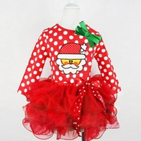 Toddler Kids Baby Girl Polka Dot Lace Bow Long Sleeve Clothes Christmas Party Pageant Tutu Dress winter Ball Gown costume outfit