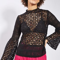 Lace Trumpet Sleeve Top - Tops - Clothing