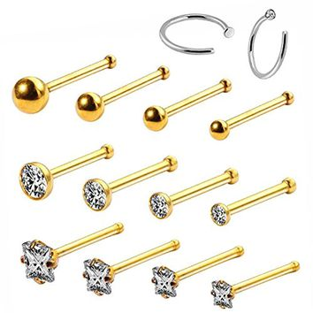 BodyJ4You 14PC Nose Hoop Rings 20G Stainless Steel Gold Nose Bone Stud Pin Piercing Jewelry (0.8mm)