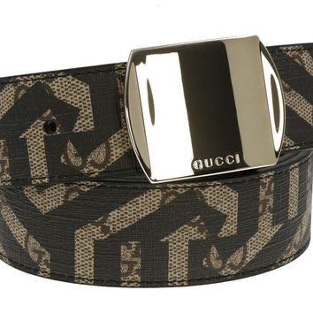 NEW GUCCI MEN'S CURRENT GG SUPREME CALEIDO LEATHER LOGO BUCKLE BELT 90/36